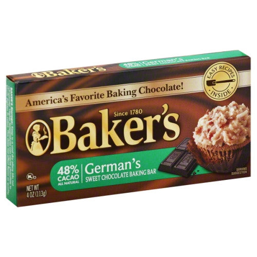 Baker's Chocolate Baking Bar, Sweet, German's, 48% Cacao 4 oz.
