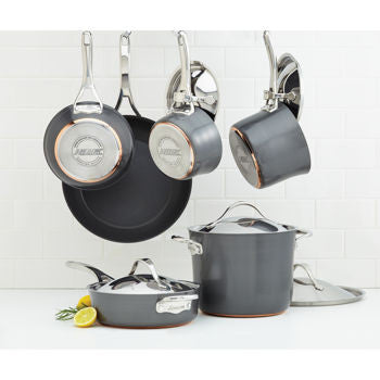 Anolon Nouvelle Copper Hard-Anodized Non-Stick 11-pc Dark Gray Cookware Set