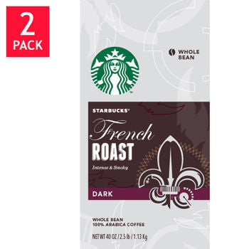 Starbucks French Roast Whole Bean Coffee 2/40oz