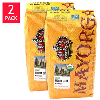 Mayorga Organic Mocha Java Blend Whole Bean Coffee 2 lb. Bag 2-pack