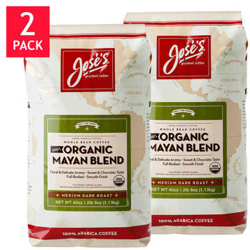 Jose���s 100% Organic Mayan Whole Bean Coffee 2.5 lb. Bag 2-pack