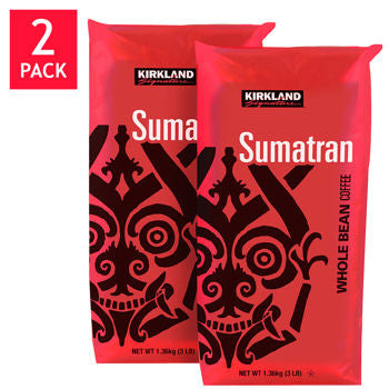 Kirkland Signature Sumatra Whole Bean Coffee 3 lb. Bag 2-pack