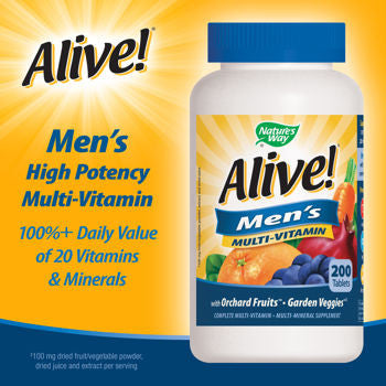 Alive! Men's Multi-Vitamin, 200 Tablets