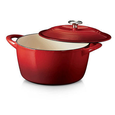 Tramontina Cast Iron Round Covered Dutch Oven 6.5 Qt. - Red