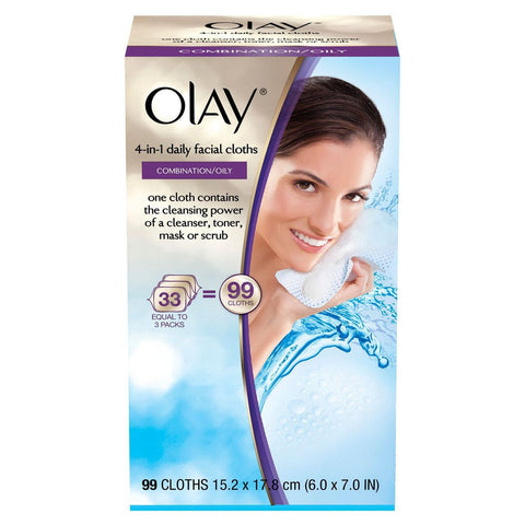 Olay 4-in-1 Daily Facial Cloths - Combination/Oily - 99 ct.