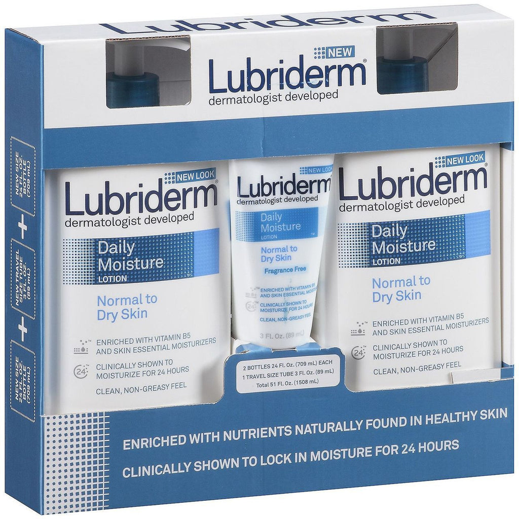 Lubriderm Dermatologist Developed - 2 x 24 oz. Bottles + 1 x 3 oz. Tube