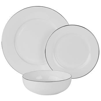 10 Strawberry Street 24-piece Bone China Dinnerware Set with Silver Band