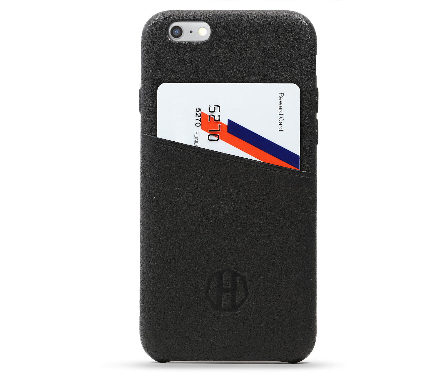 reputable site 25c6d 93ede Black Leather iPhone 6/6S Wallet Card Case
