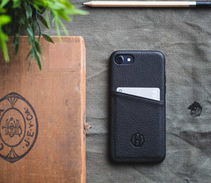 Black Leather iPhone 6/6S Wallet Card Case