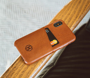 Brown Leather iPhone X Wallet Card Case