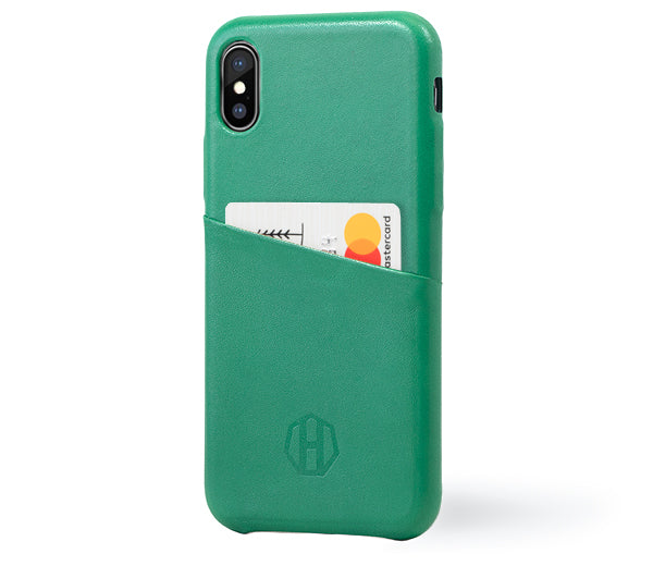 Green iPhone X Luxury Leather Wallet Case