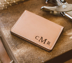Initials Engraved on Leather Wallet