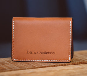 Personalized Bifold Leather Card Wallet