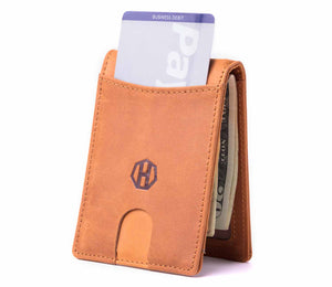 Ultra Slim Pull Tab Design Bifold Leather Wallet - Crazy Horse Leather