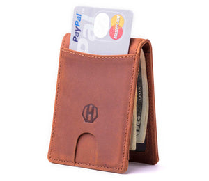 Slim Slider Design Bifold Wallet - Crazy Horse Leather
