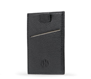 Black Leather Slide Slim Sleeve RFID Card Wallet