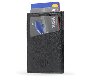 Black Leather Slide Slim Sleeve RFID Card Wallet - Outside