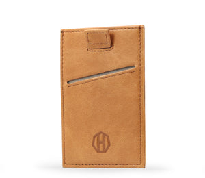 Brown Leather Slide Slim Sleeve RFID Card Wallet