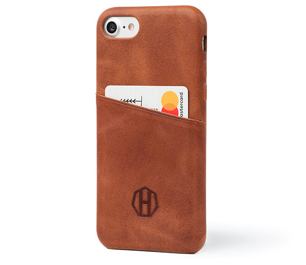 Haxford Brown Leather iPhone 7 Cardholder Case