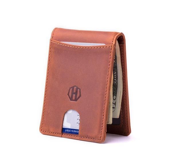 Slim Bifold Leather Wallet Copper