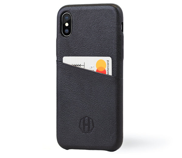 Black iPhone X Luxury Leather Wallet Case