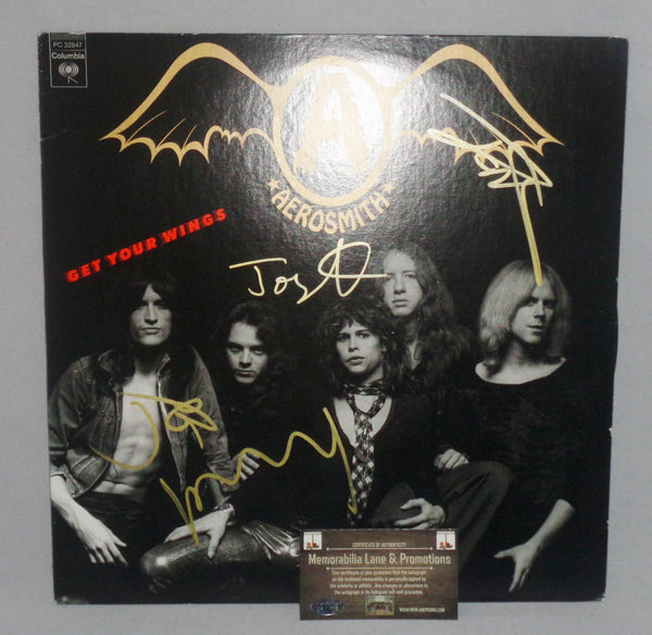 Aerosmith autograph Record GET YOUR WINGS COA Memorabilia Lane & Promotions