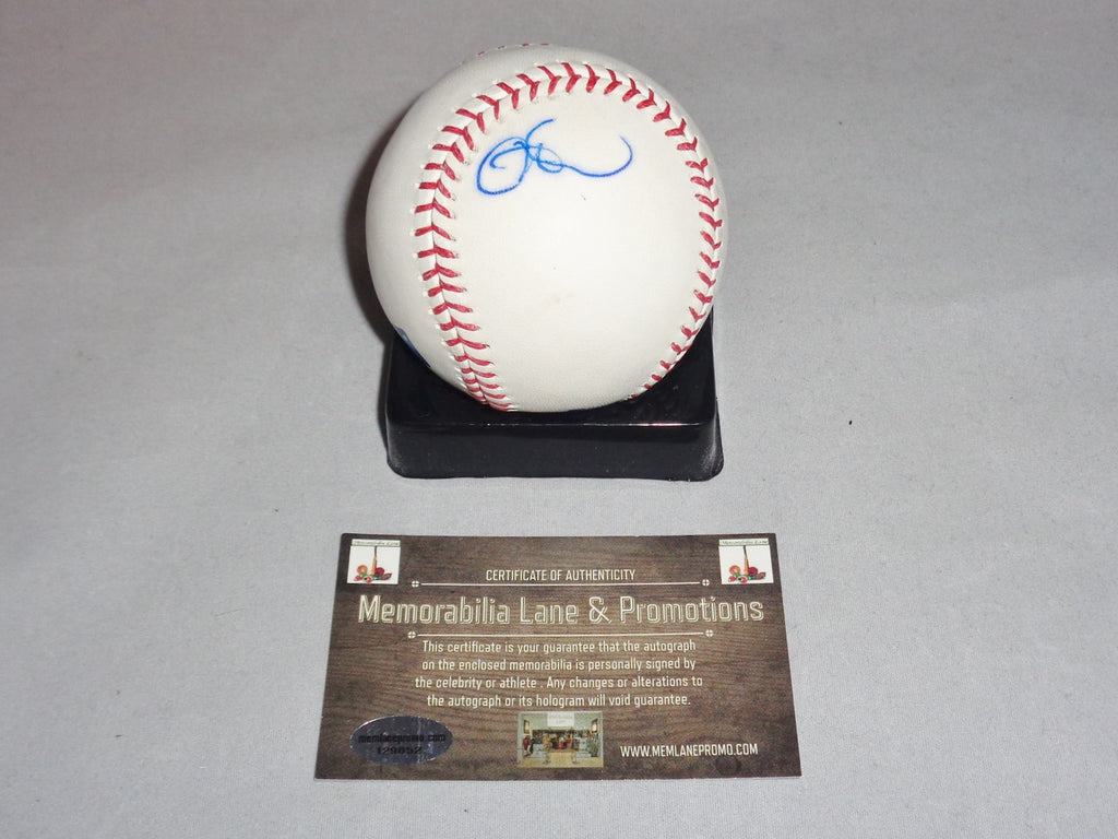 Cole Hammels RANGERS autograph (slight bleed) OML baseball COA Memorabilia Lane