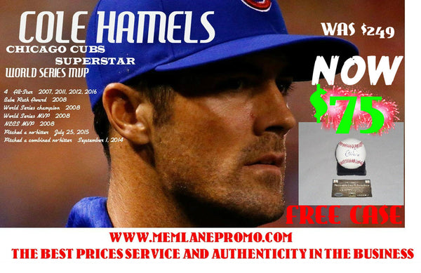 FLASH SALE Cole Hamels CUBS autographed OML baseball COA Memorabilia Lane