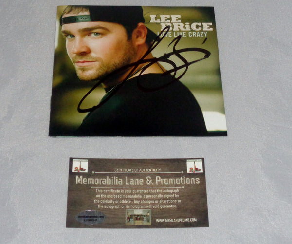 Lee Brice autograph CD COVER COA Memorabilia Lane & Promotions