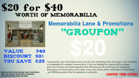"MEMORABILIA LANE ""Groupon"" $20 receive $40 BUYING POWER - SOLD OUT"