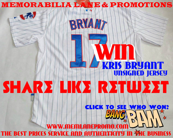 WINNER - KRIS BRYANT CUBS SOCIAL NETWORK GIVEAWAY UNSIGNED jersey