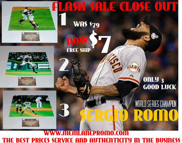 FLASH SALE CLOSE OUT Sergio Romo GIANTS autograph 8x10 COA Memorabilia Lane & Promotions