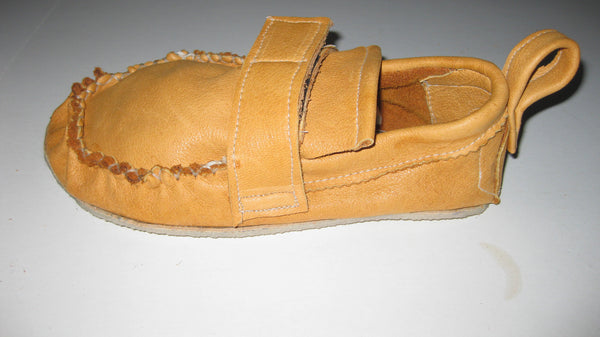 Cowhide Shoes with leather strip closures