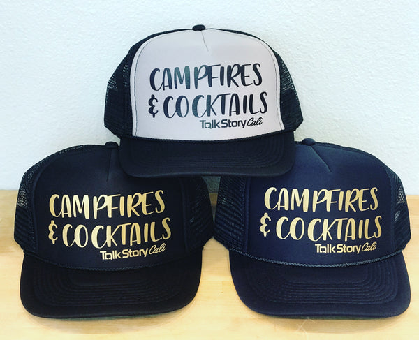 Campfires & Cocktails trucker hats