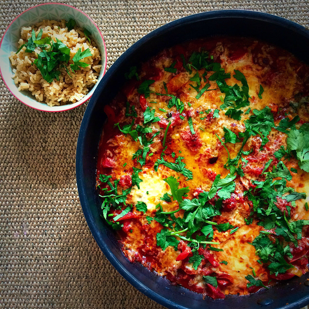 Healthy recipe - Huevas Rancheros (Mexican Rancher's Eggs) with spiced brown rice