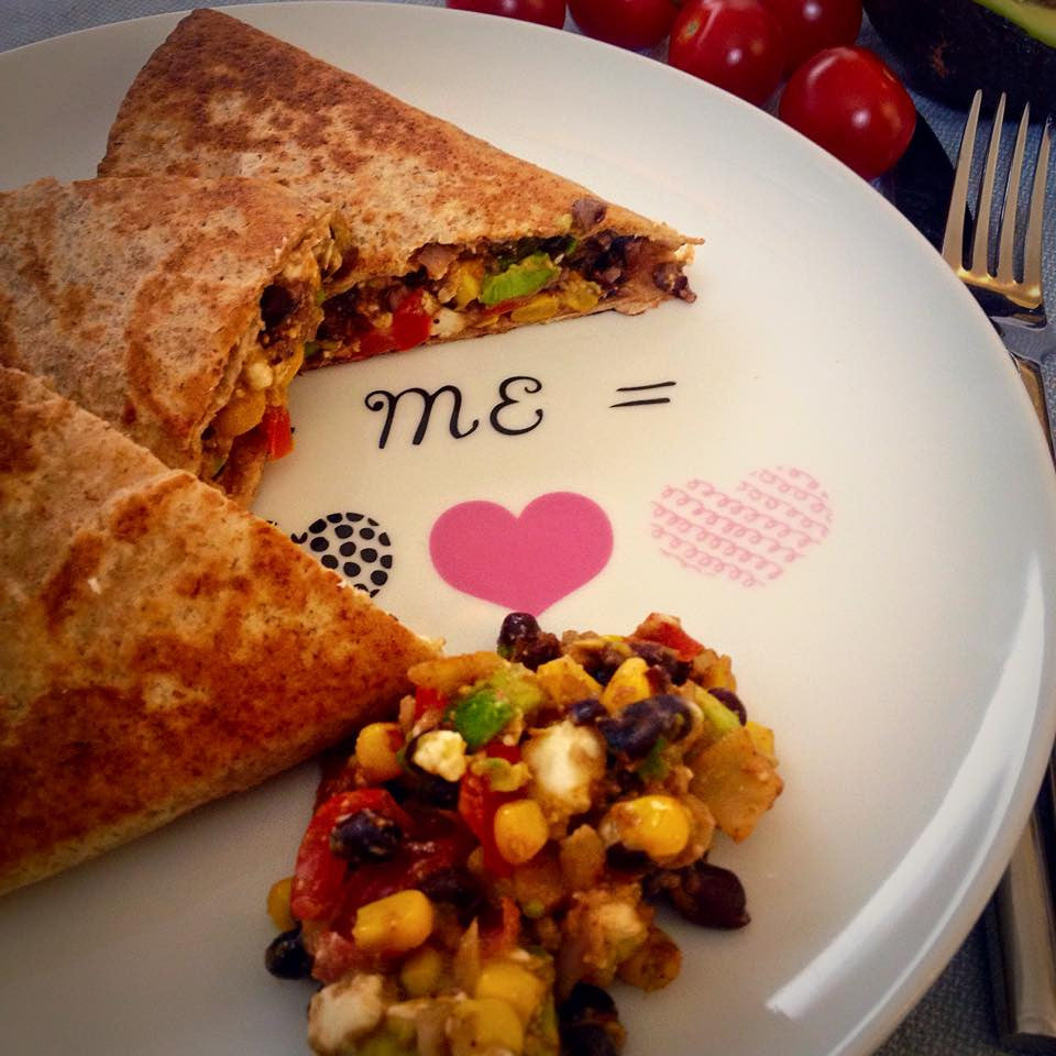 Quick healthy dinner recipe - Mexican black bean quesadillas