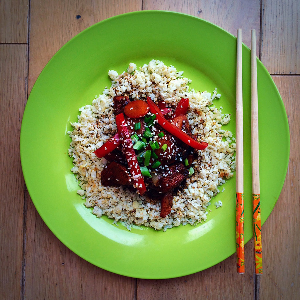Healthy fake away - Chicken Char siu with cauliflower rice