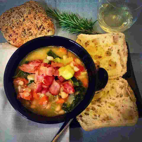 Healthy dinner recipe Tuscan bean soup with crispy pancetta
