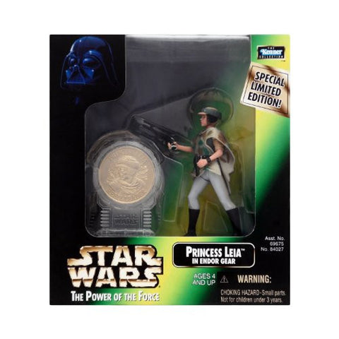 Power of the Force Millenium Coin Edition Princess Leia in Endor Gear Action Figure Kenner Star Wars