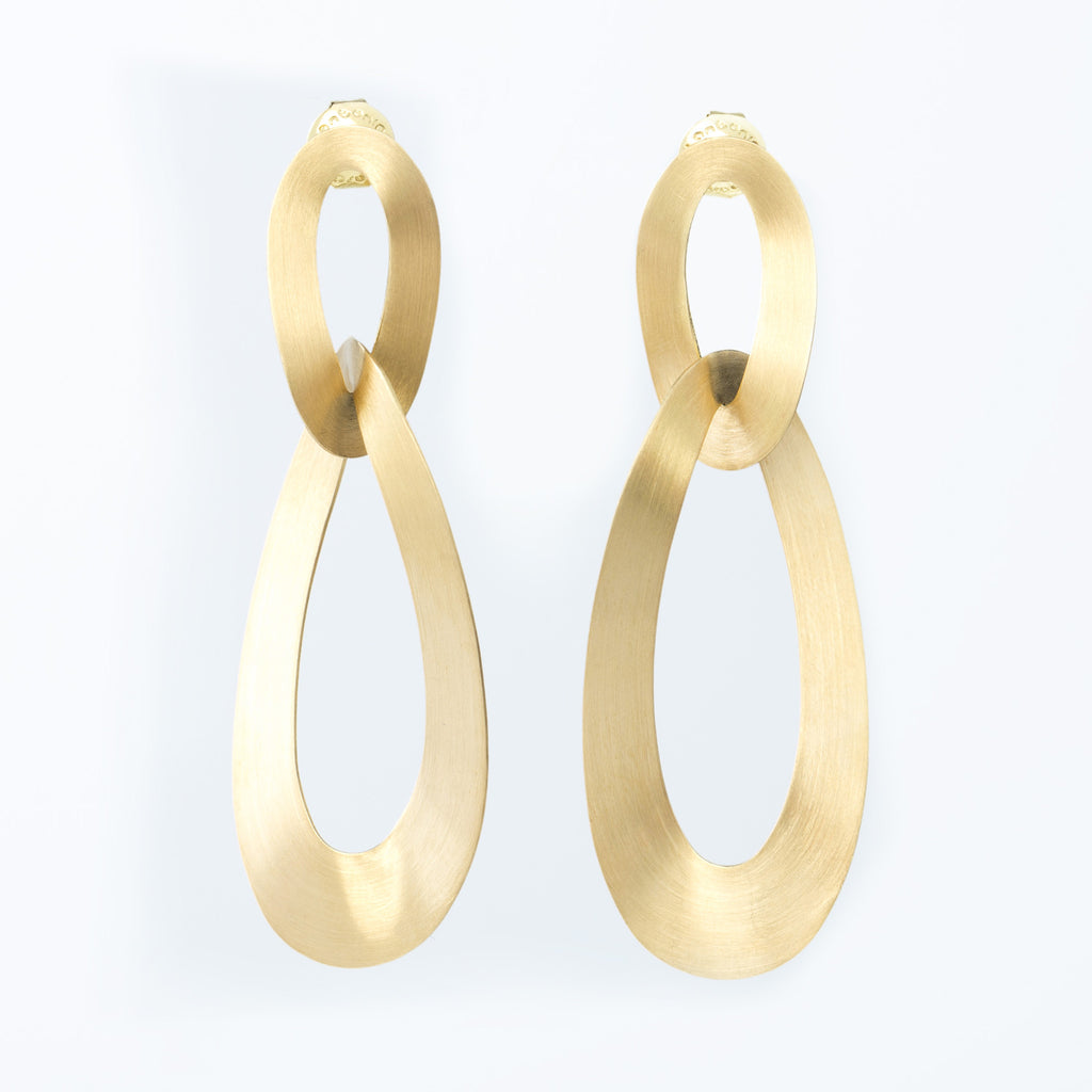 Yellow Gold Interlocking Oval Earrings