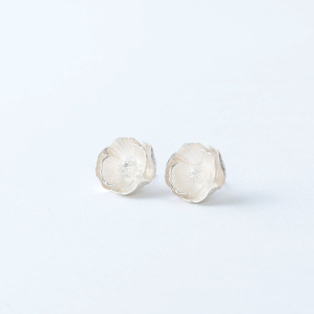 Sterling Silver Poppy Stud Earrings