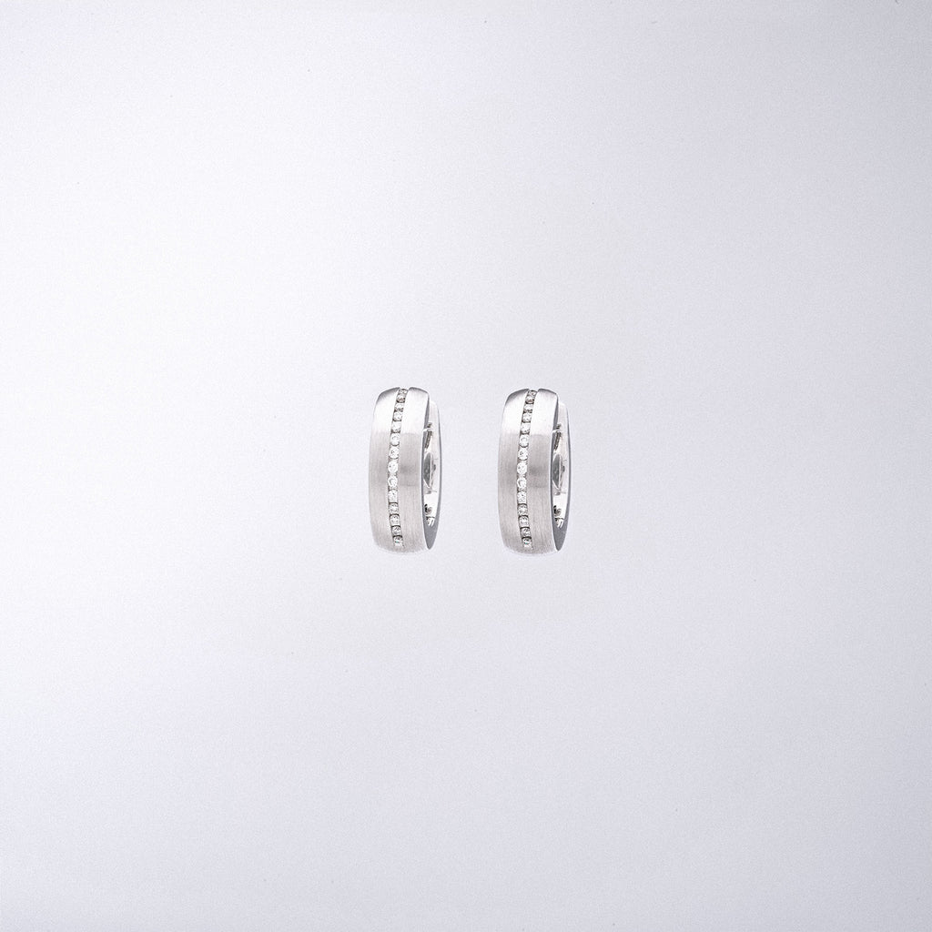 White Gold Huggie Hoops with Diamonds