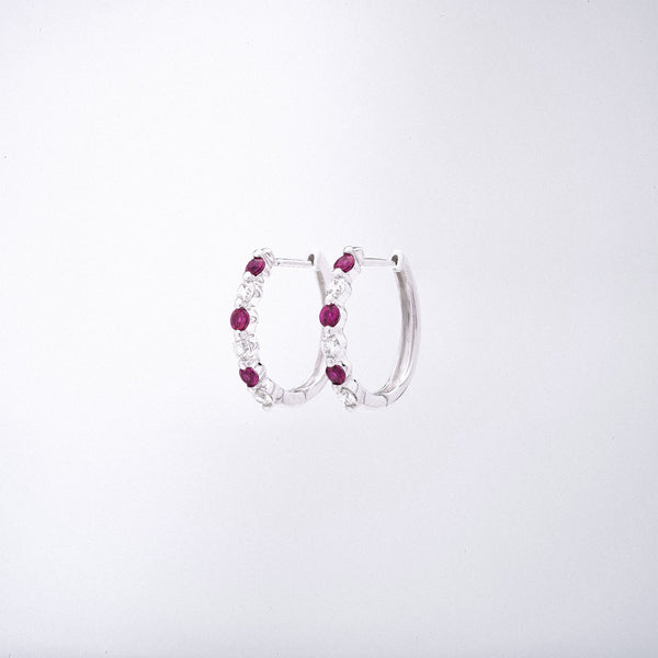 White Gold Ruby and Diamond Huggies