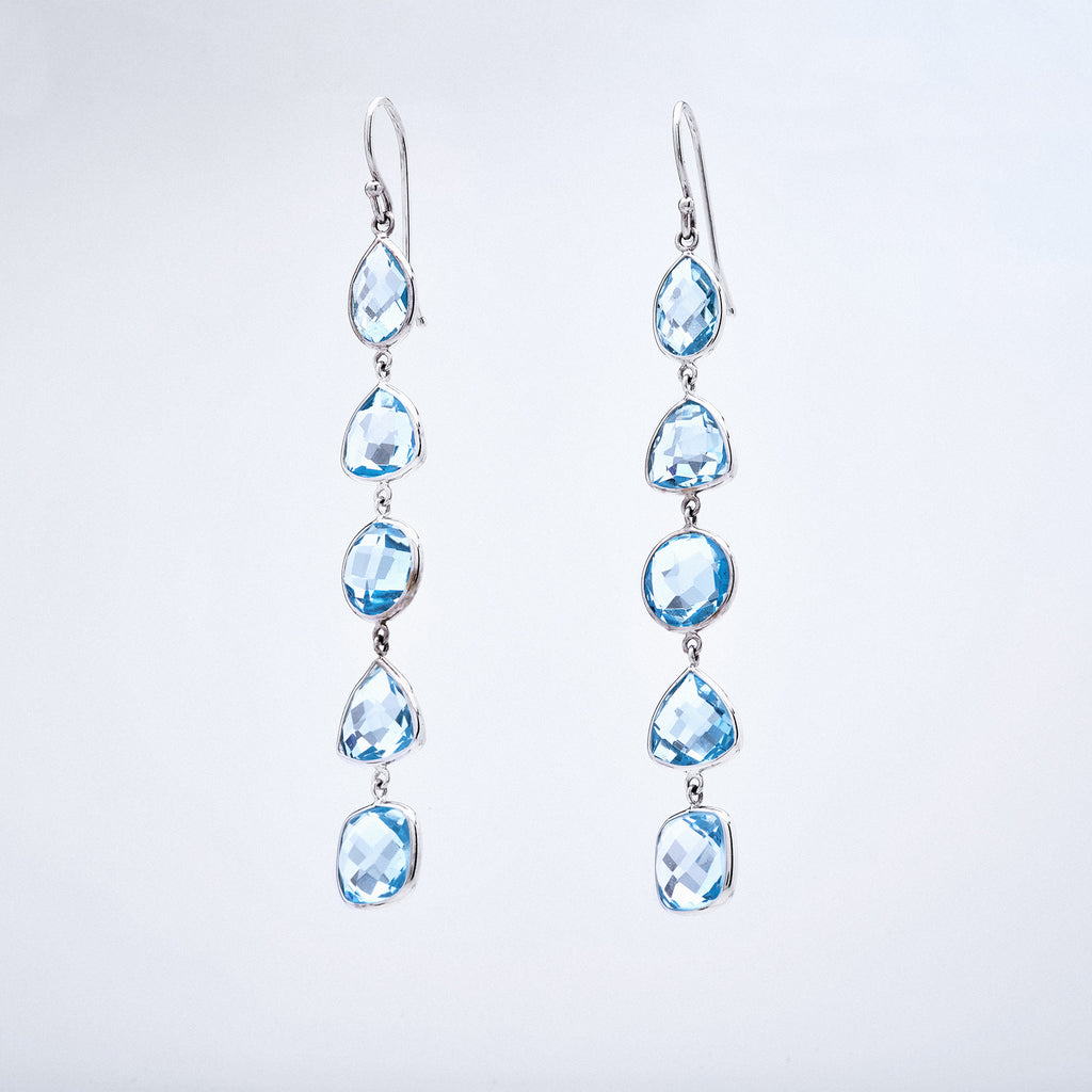 White Gold and Blue Topaz 5 Stone Drop Earrings