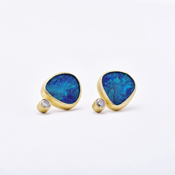 Opal and Diamond Post Earrings