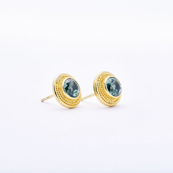 Green Tourmaline Etruscan Earrings
