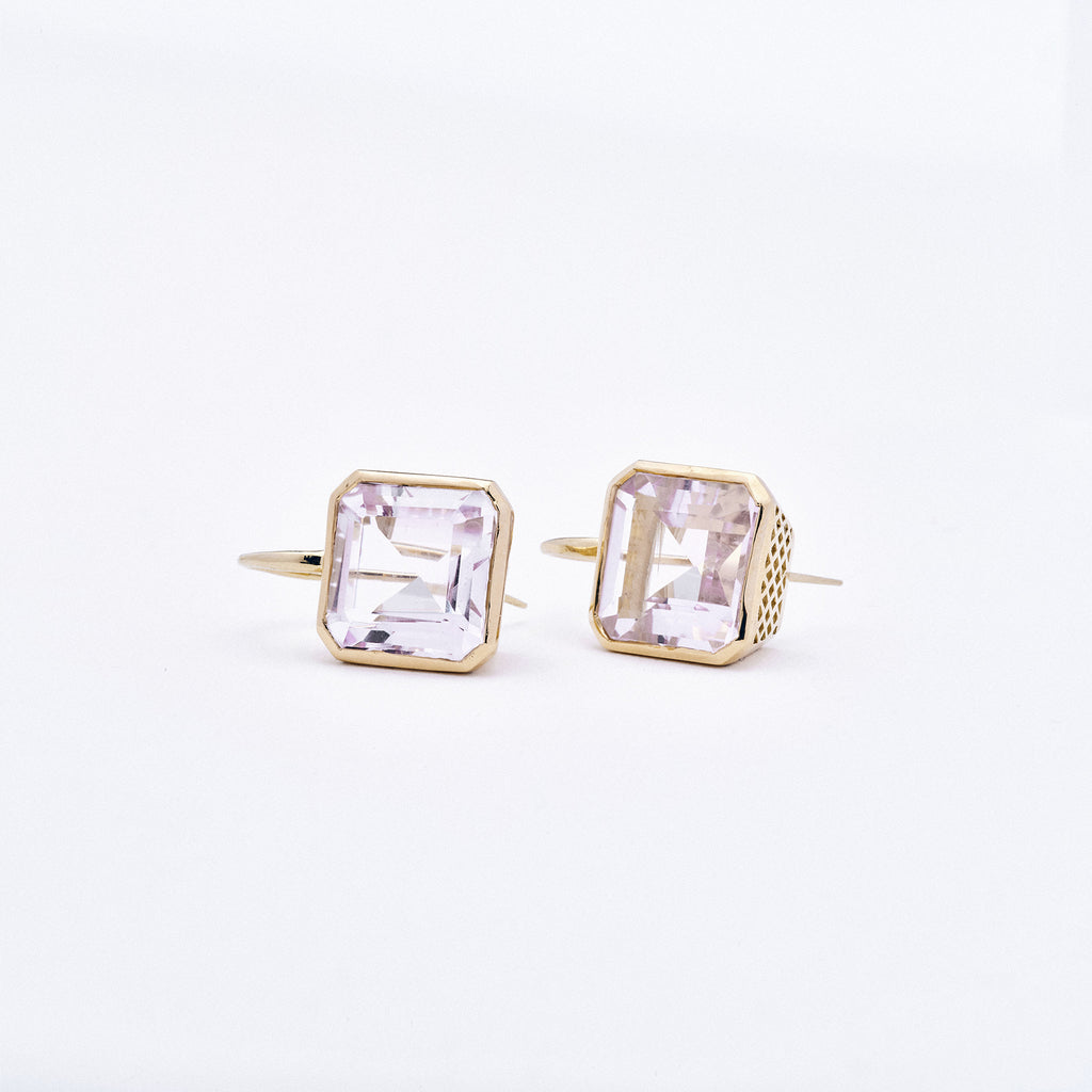 Rose de France Earrings with Crown Work
