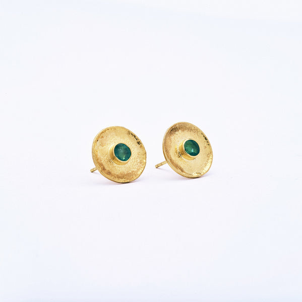 Emerald Post Earrings with Yellow Gold