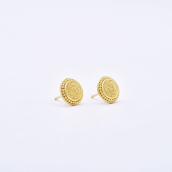 Yellow Gold Etruscan Style Post Earrings