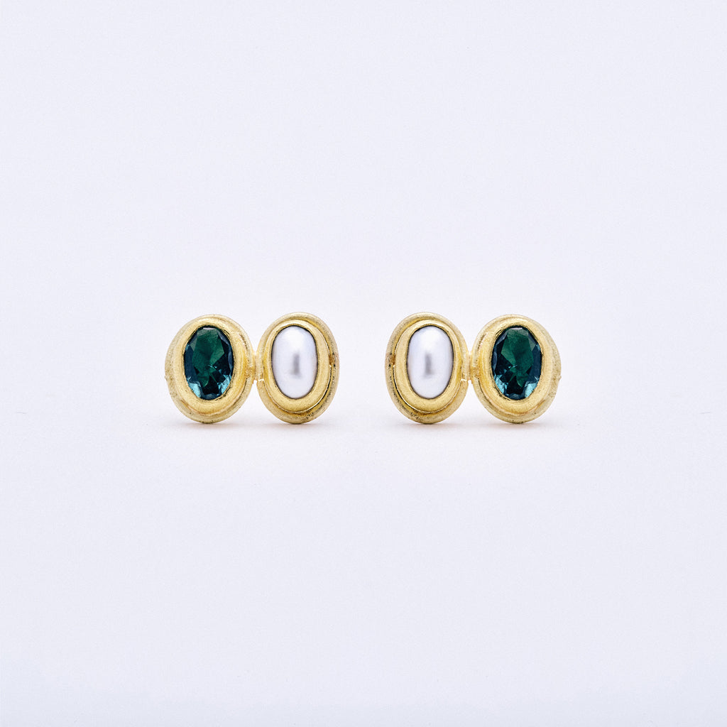 Green Tourmaline and Pearl Post Earrings